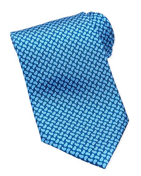Mini-Paisley Printed Tie, Blue