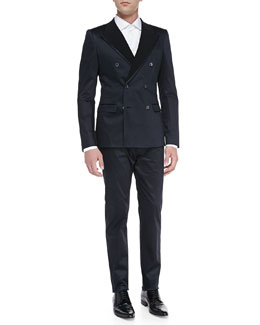 Dolce & Gabbana Light Cotton Suit, Navy/Black
