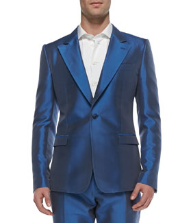 Dolce & Gabbana Shantung One-Button Blazer, Blue