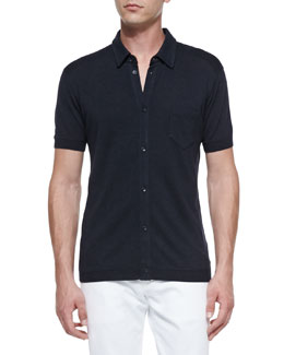 Dolce & Gabbana Silk Button-Front Polo Shirt