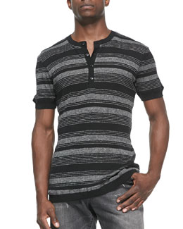 Dolce & Gabbana Striped-Knit Short-Sleeve Henley Tee