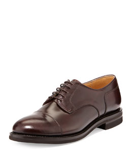 Cap-Toe Leather Lace-Up, Burgundy