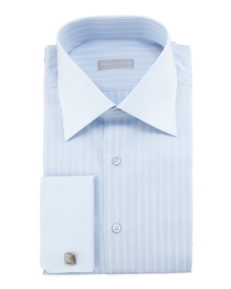 Tonal-Striped French-Cuff Dress Shirt