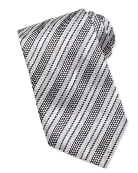 Multi-Stripe Silk Tie, Silver/Black