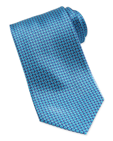 Stefano Ricci Micro-Flower Silk Tie, Blue