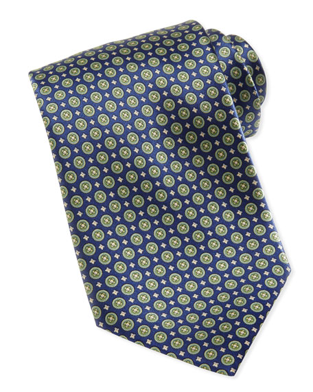 Stefano Ricci Circle-Medallion Silk Tie, Blue/Green