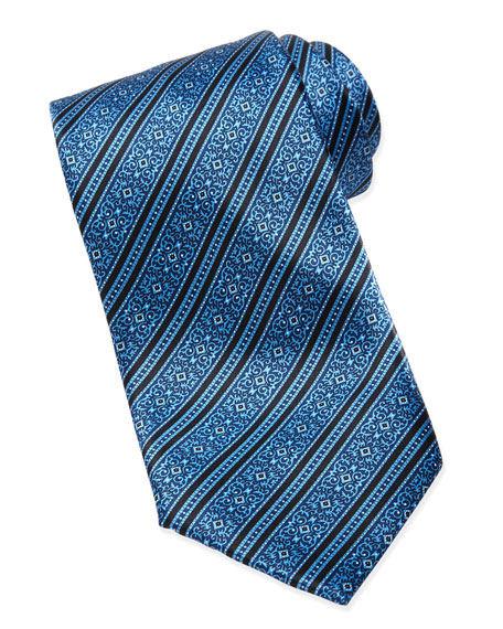 Filigree Striped Silk Tie, Blue