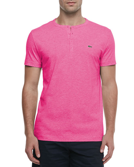 Lacoste Short-Sleeve Pima Henley, Pink