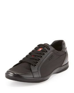 Prada Offshore Leather and Nylon Sneaker, Black
