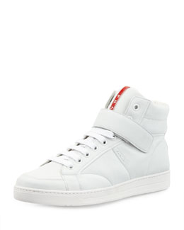 Prada Avenue Leather Hi-Top Napa Sneaker, White