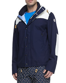 Moncler Leo Hooded Toggle Jacket, Navy