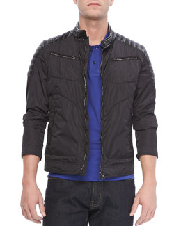 Moncler Salomon Nylon Moto Jacket, Black