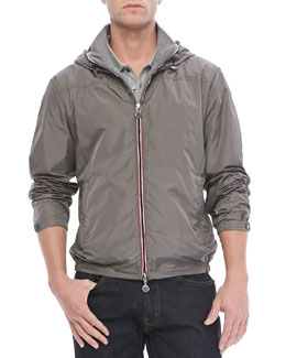 Moncler Urville Jersey-Lined Nylon Hoodie, Gray