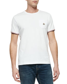 Moncler Logo-Tipped Crewneck Tee, Open Off White