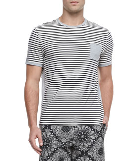 Moncler Striped Short-Sleeve Tee, Black/White