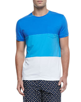Moncler Colorblock Jersey Tee, Blue/White