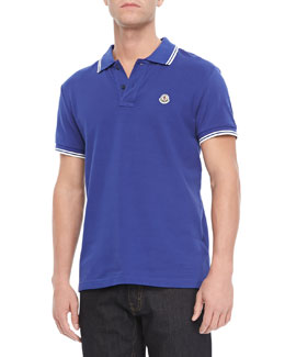 Moncler Pique Tipped Polo, Blue