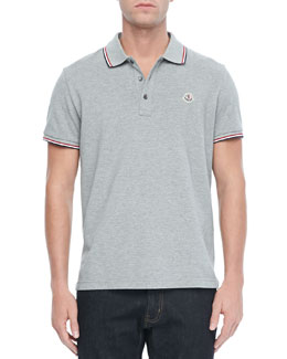 Moncler Pique Tipped Polo, Gray