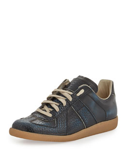 Maison Martin Margiela Replica Low-Top Leather Sneaker, Blue/Black