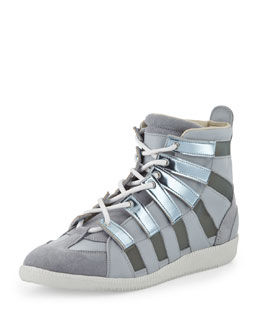 Maison Martin Margiela Metallic Mesh High-Top Sneaker, Silver