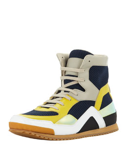 Maison Martin Margiela Men's Mesh & Leather High-Top Sneaker, Navy/Yellow
