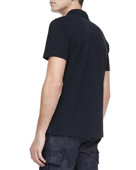 Chambray-Front Short-Sleeve Polo, Navy