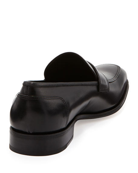Leather Penny Loafer, Nero (Black)