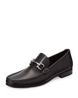 Giordano Calfskin Gancini Loafer, Black
