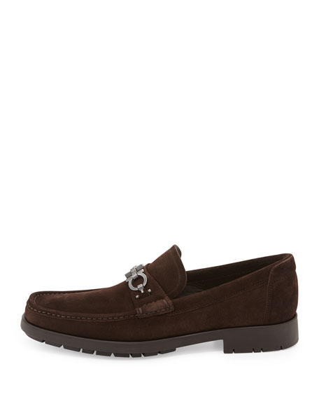 Gancini-BIt Suede Loafer, Brown