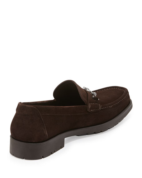 Gancini-BIt Suede Loafer, Brown