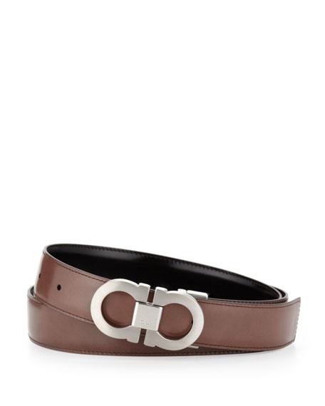 Double-Gancini Reversible Calfskin Belt, Black/Brown