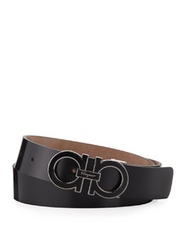 Double-Gancini Belt with Enamel Buckle, Black