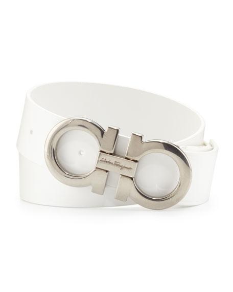 Men's Double-Gancini Calfskin Belt, White