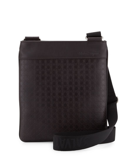 Gamma Gancini-Embossed Men's Shoulder Bag, Brown