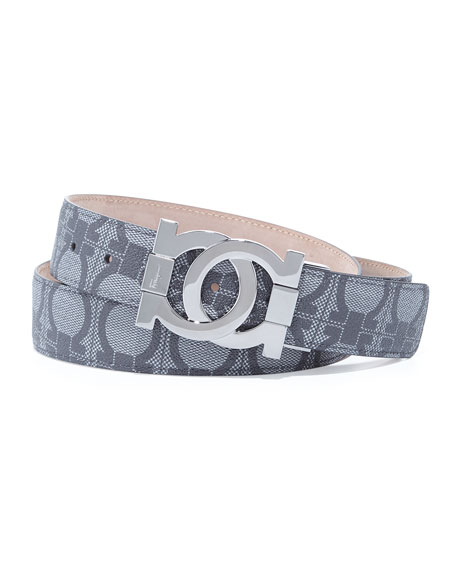 Linking Gancini Buckle Logo-Print Belt, Black/Gray