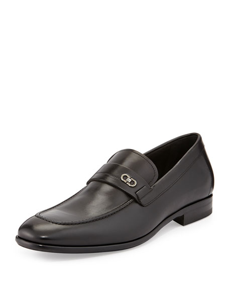 Paros Calfskin Loafer with Double Gancini Side Ornament,
