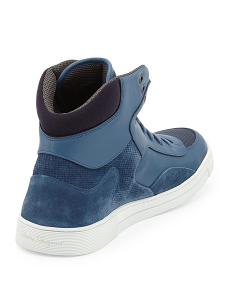 Men's Leather & Suede High-Top Sneaker, Blue