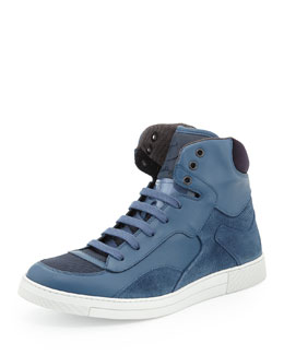 Robert Men's Leather & Suede High-Top Sneaker, Blue
