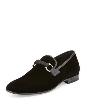 Salvatore Ferragamo Party Velvet Formal Loafer, Black