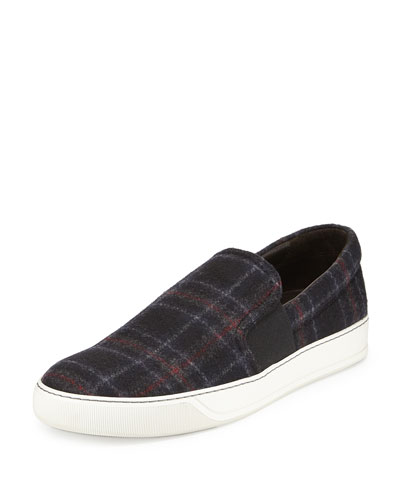 Plaid-Wool Slip-On Sneaker, Blue Multi
