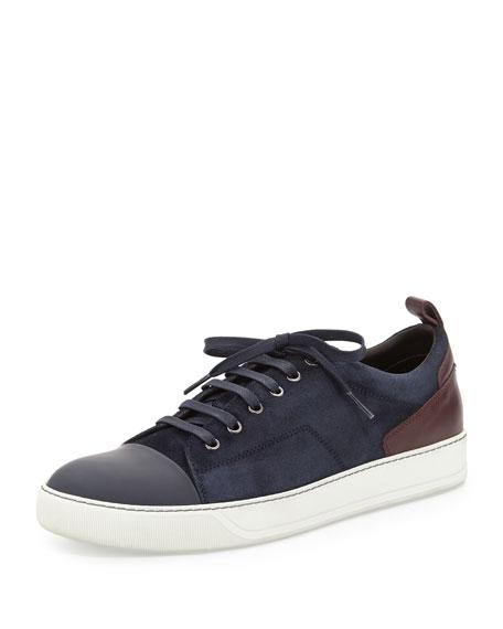 83900f80b90 Lanvin Two-Tone Suede Sneaker, Navy/Burgundy
