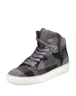 Plaid-Wool High-Top Sneaker, Gray Multi