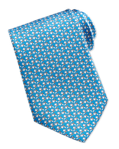 Dragonfly-Pattern Silk Tie, Teal