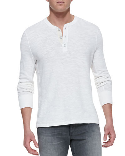 Slub-Knit Basic Henley, White