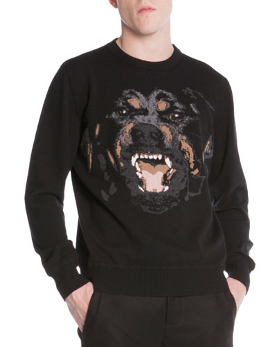 Rottweiler-Embroidered Pullover Sweater, Black