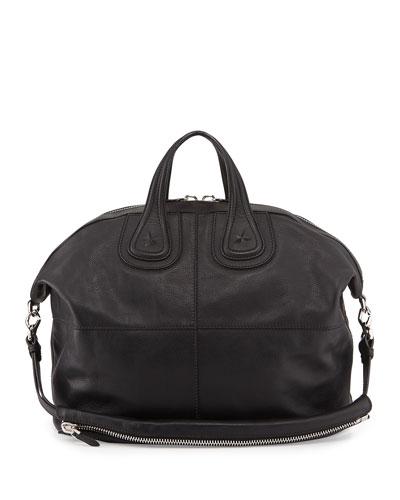 Nightingale Men's Star-Embossed Satchel Bag, Black
