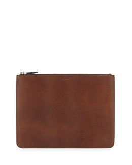 Men's Large Pony-Embossed Leather Pouch, Brown