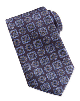 Large-Medallion-Pattern Silk Tie, Purple