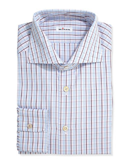 Check Poplin Dress Shirt, Red /Blue