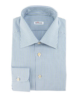 Graph-Check Dress Shirt, Blue/Green